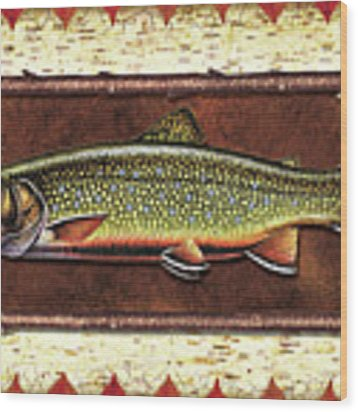 Brook Trout Lodge Wood Print