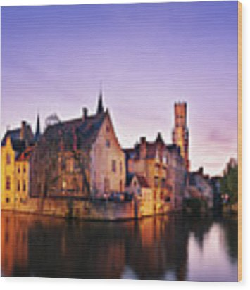 Bruges At Dusk Wood Print by Barry O Carroll