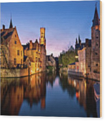 Bruges Canals At Blue Hour Wood Print by Barry O Carroll