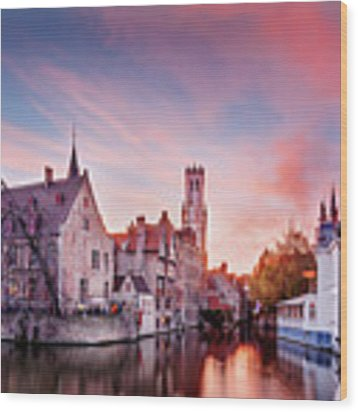 Bruges Sunset Wood Print by Barry O Carroll