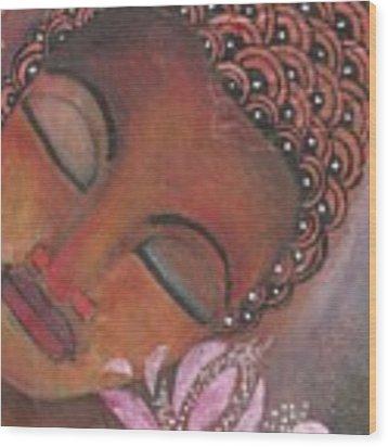 Buddha With Pink Lotus Wood Print by Prerna Poojara