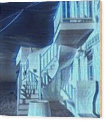 Building At Harbour  Wood Print by Colette V Hera Guggenheim