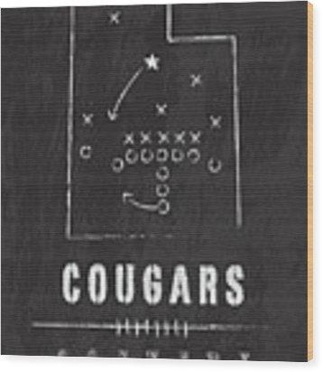 Byu Cougars / Ncaa College Football Art / Salt Lake City Utah Wood Print by Damon Gray