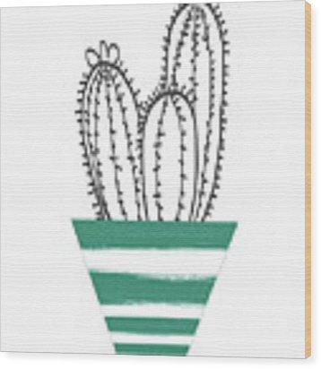 Cactus In A Green Pot- Art By Linda Woods Wood Print by Linda Woods