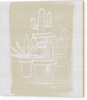 Cactus In Pots- Art By Linda Woods Wood Print by Linda Woods