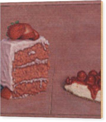 Cakefrontation Wood Print by James W Johnson
