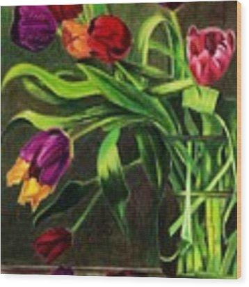 Cascading Tulips Wood Print by Patti Ferron