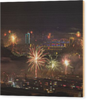 Chinese New Year Fireworks 2018 I Wood Print by William Dickman