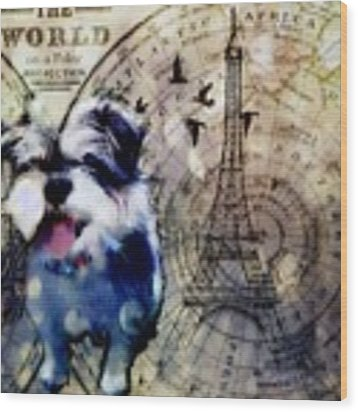 City Girl Goes To Paris Wood Print by Delight Worthyn