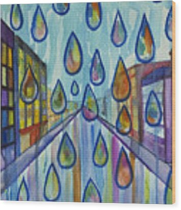 City Rain Wood Print by Angelique Bowman