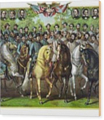 Civil War Generals And Statesman Wood Print