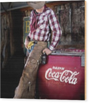Classic Coca-cola Cowboy Wood Print by James Sage
