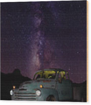 Classic Truck Under The Milky Way Wood Print by James Sage