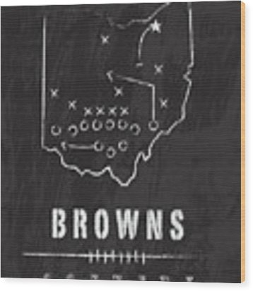 Cleveland Browns Art - Nfl Football Wall Print Wood Print by Damon Gray