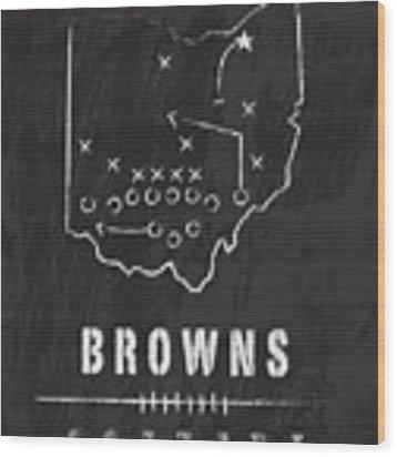 Cleveland Browns Art - Nfl Football Wall Print Wood Print by Damon Gray