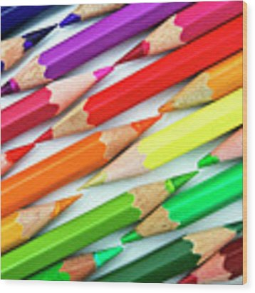 Colored Pencil Tips Wood Print