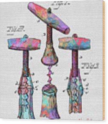 Colorful 1883 Wine Corckscrew Patent Wood Print by Nikki Marie Smith