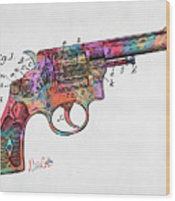 Colorful 1896 Wesson Revolver Patent Wood Print by Nikki Marie Smith
