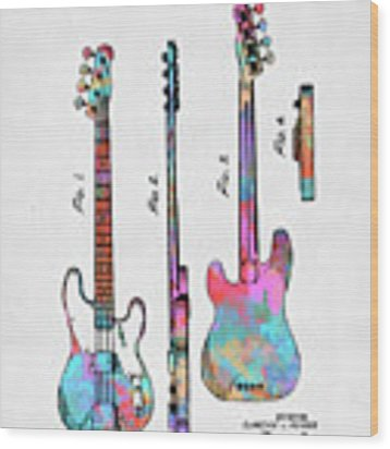 Colorful 1953 Fender Bass Guitar Patent Artwork Wood Print by Nikki Marie Smith