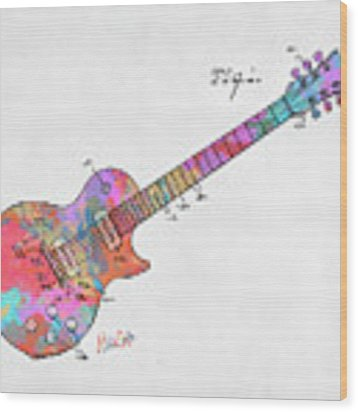 Colorful 1955 Mccarty Gibson Les Paul Guitar Patent Artwork Mini Wood Print by Nikki Marie Smith