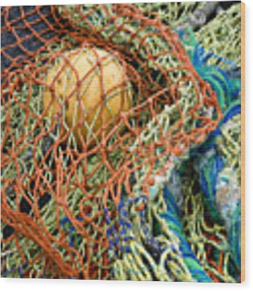 Colorful Nets And Float Wood Print by Carol Leigh
