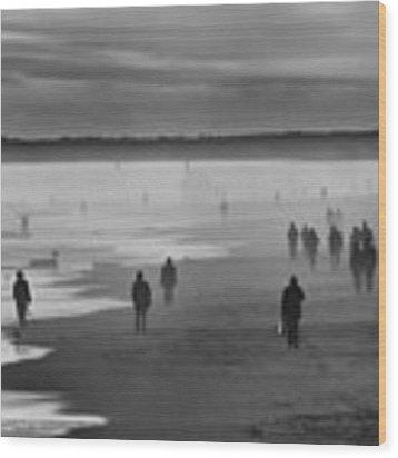 Coney Island Walkers Wood Print by Eric Lake