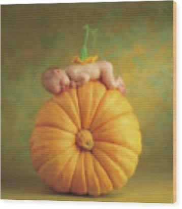 Country Pumpkin Wood Print by Anne Geddes