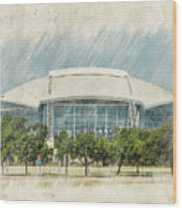 Cowboys Stadium Wood Print by Ricky Barnard