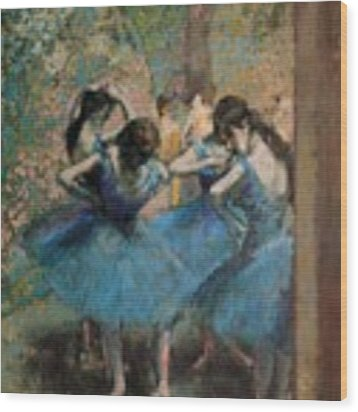 Dancers In Blue Wood Print