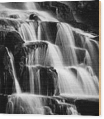 Dark Waterfall In Monochrome  Wood Print by Rikk Flohr