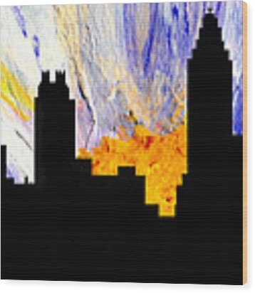 Decorative Abstract Skyline Atlanta T1115a1 Wood Print by Mas Art Studio