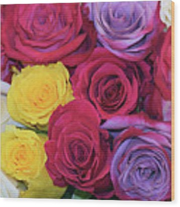 Decorative Wallart Brilliant Roses Photo B41217 Wood Print by Mas Art Studio