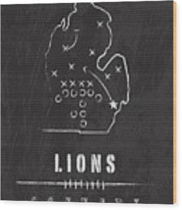 Detroit Lions Art - Nfl Football Wall Print Wood Print by Damon Gray