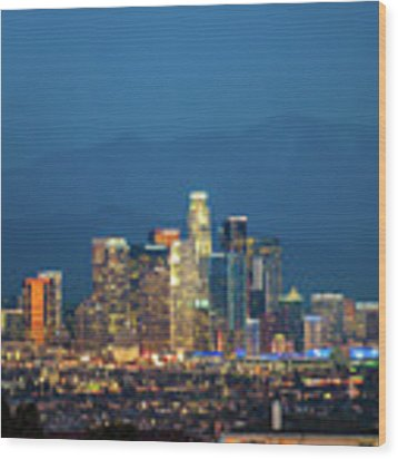 Downtown Los Angeles Skyline At Night Wood Print by Gregory Ballos