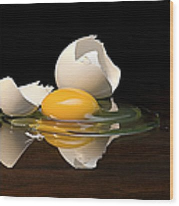 Egg On Glass Wood Print by Endre Balogh