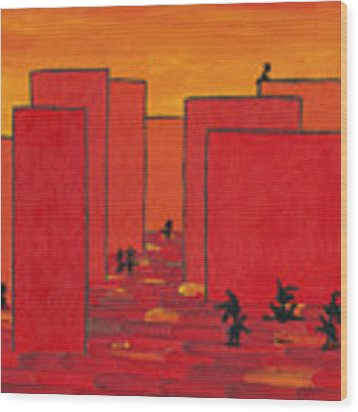Enjoy Dancing In Red Town P2 Wood Print by Manuel Sueess