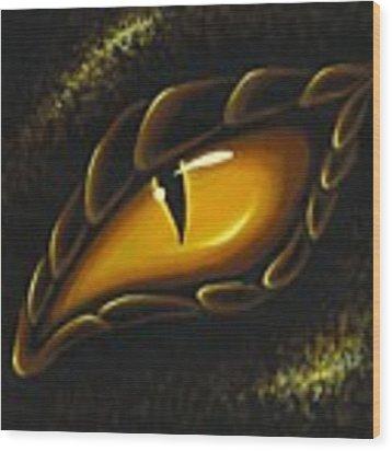 Eye Of Golden Embers Wood Print