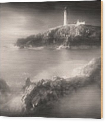 Fanad Lighthouse In The Mist Wood Print by Susan Maxwell Schmidt