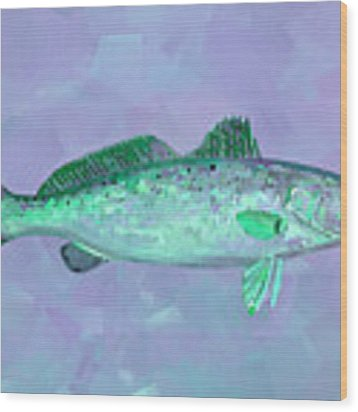 Fanciful Lavender Mint Sea Trout Wood Print by Shelli Fitzpatrick