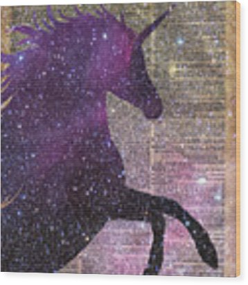 Fantasy Unicorn In The Space Wood Print