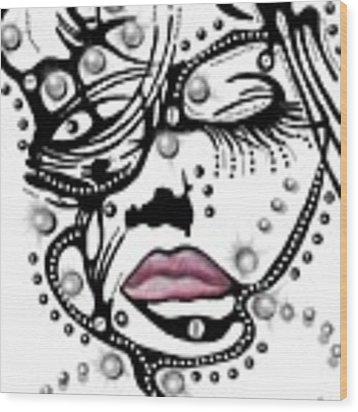 Female Abstract Face Wood Print by Darren Cannell