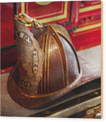 Fireman - Hat - Commander  Wood Print by Mike Savad