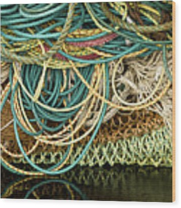 Fishnets And Ropes Wood Print by Carol Leigh