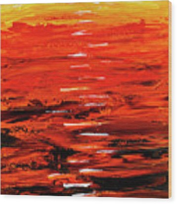 Flaming Sunset Abstract 205173 Wood Print by Mas Art Studio