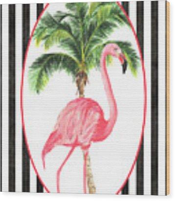 Flamingo Amore 7 Wood Print by Debbie DeWitt