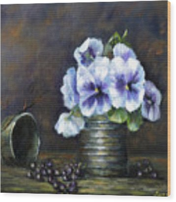 Flowers,pansies Still Life Wood Print by Katalin Luczay