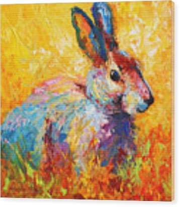Forest Bunny Wood Print by Marion Rose