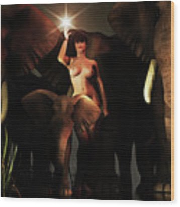Freedom To The Elephants Wood Print by Jan Keteleer