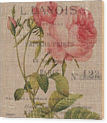 French Burlap Floral 2 Wood Print by Debbie DeWitt