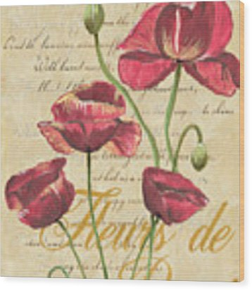 French Pink Poppies Wood Print